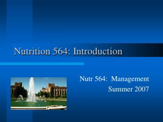 Nutrition 564: Introduction