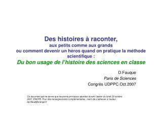 D.Fauque Paris de Sciences Congrès UDPPC.Oct.2007
