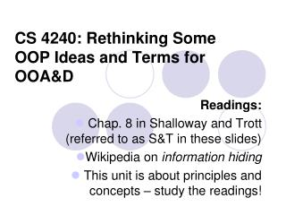 CS 4240: Rethinking Some OOP Ideas and Terms for OOA&D