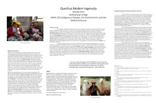 Quechua Modern Ingenuity Brooke Elmi Gettysburg College ANTH 223-Indigenous Peoples, the Environment, and the Global Ec