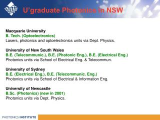 U'graduate Photonics in NSW