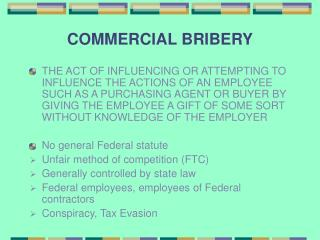 COMMERCIAL BRIBERY