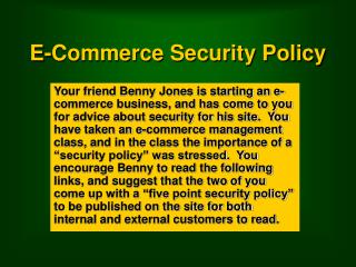 E-Commerce Security Policy