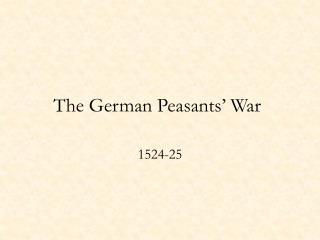 The German Peasants' War