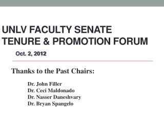 UNLV Faculty Senate Tenure & Promotion Forum