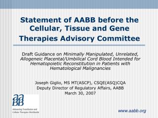 Statement of AABB before the Cellular, Tissue and Gene Therapies Advisory Committee