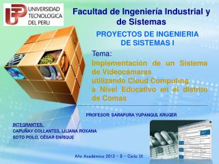 PROYECTOS DE INGENIERIA     DE SISTEMAS I