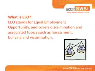 What is EEO? EEO stands for Equal Employment Opportunity, and covers discrimination and associated topics such as haras