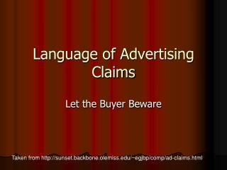 Language of Advertising Claims