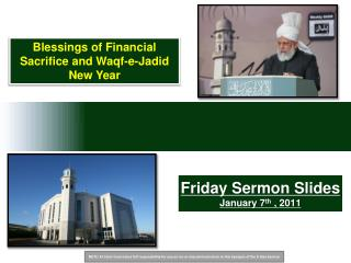 Friday Sermon Slides January  7 th  , 2011