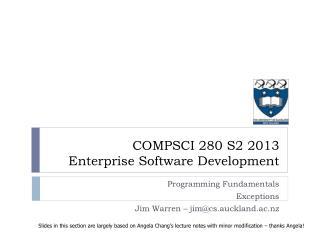 COMPSCI 280 S2 2013 Enterprise Software Development