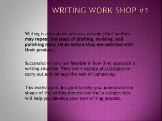 Writing Work Shop #1