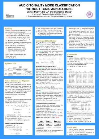 AUDIO TONALITY MODE CLASSIFICATION  WITHOUT TONIC ANNOTATIONS Zhiyao Duan 1,2 , Lie Lu 1 , and Changshui Zhang 2 1. Mic