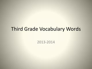 Third Grade Vocabulary Words