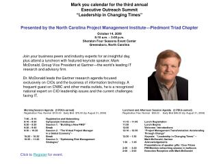 Morning Session Agenda   (3 PDUs earned) Registration Fee: Normal  $100.00   Early Bird  $75.00 (by August 31, 2009) 7: