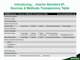 Introducing… Interim Standard #1. Sources & Methods Transparency Table