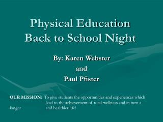 Physical Education Back to School Night