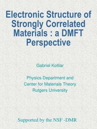 Electronic Structure of Strongly Correlated Materials : a DMFT Perspective