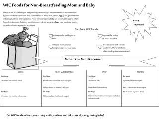 WIC Foods for Non-Breastfeeding Mom and Baby