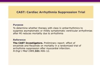 CAST: Cardiac Arrhythmia Suppression Trial