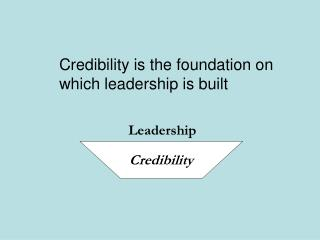 Credibility is the foundation on  which leadership is built