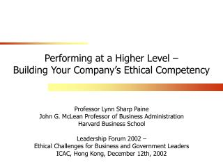 Performing at a Higher Level –  Building Your Company's Ethical Competency