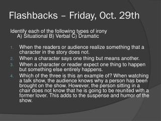 Flashbacks – Friday, Oct. 29th