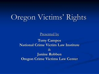 Oregon Victims� Rights