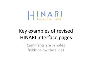 Key examples of revised HINARI interface pages