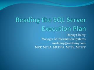 Reading the SQL Server Execution Plan