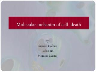 Molecular  mehanim  of cell  death