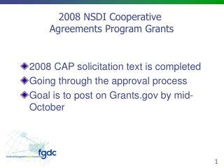 2008 NSDI Cooperative   Agreements Program Grants