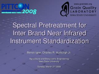 Spectral Pretreatment for Inter Brand Near Infrared Instrument Standardization