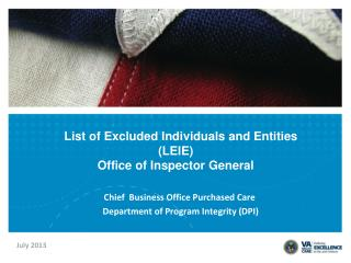 List of Excluded Individuals and Entities         (LEIE)         Office of Inspector General