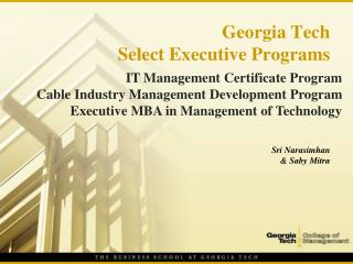 Georgia Tech  Select Executive Programs
