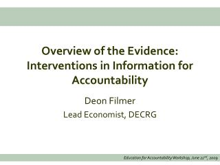 Overview of the Evidence: Interventions in Information for Accountability