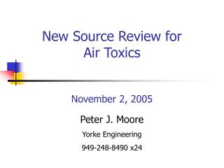 New Source Review for Air Toxics