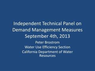 Independent Technical Panel on Demand Management Measures September 4th, 2013