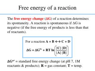 Free energy of a reaction