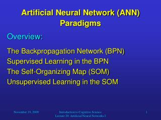 Artificial Neural Network (ANN) Paradigms
