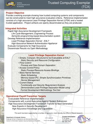 Trusted Computing Exemplar (TCX)