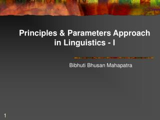 Principles & Parameters Approach in Linguistics - I