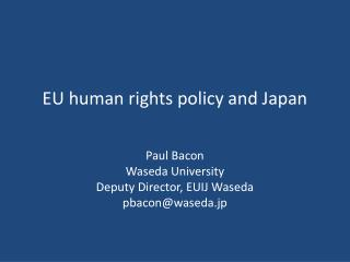EU human rights policy and Japan