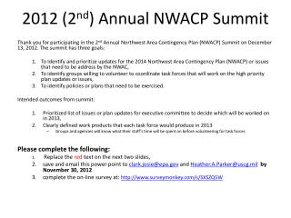 2012 (2 nd )  Annual NWACP Summit