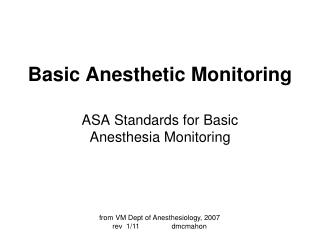 Basic Anesthetic Monitoring