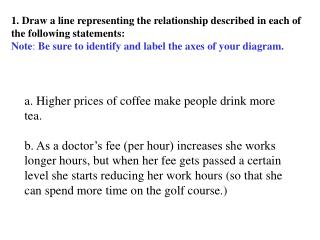1. Draw a line representing the relationship described in each of the following statements: Note :  Be sure to identify