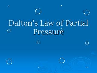 Dalton's Law of Partial Pressure