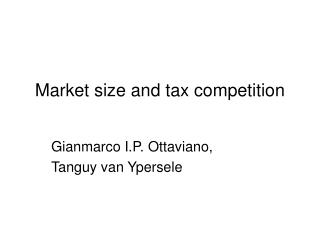 Market size and tax competition