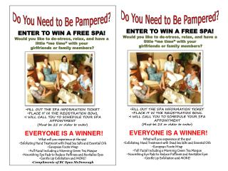"ENTER TO WIN A FREE SPA! Would you like to de-stress, relax, and have a little ""me time"" with your  girlfriends or fami"