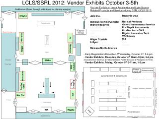LCLS/SSRL 2012: Vendor Exhibits October 3-5th